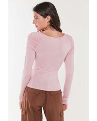 Truly Madly Deeply Pink Ruched Raglan Top