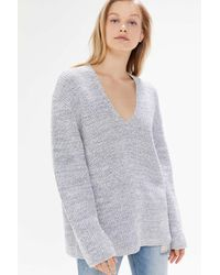 Urban Outfitters Gray Uo Victoria Oversized V-neck Sweater