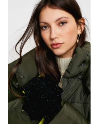 Urban Outfitters Black Uo Super Soft String Mittens