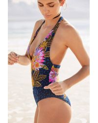 Out From Under - Blue Plunging V Printed One-piece Swimsuit - Lyst