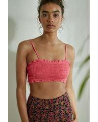 Urban Outfitters Uo Solid Shirred Bandeau Bikini Top