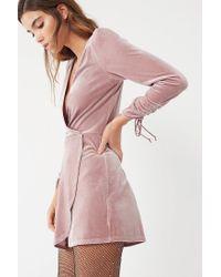 Urban Outfitters - Purple Uo Goldmine Velvet Surplice Romper - Lyst
