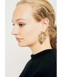 Urban Outfitters - Metallic Bamboo Heart Rose Hoop Earrings - Lyst