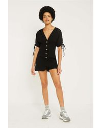 cea113a53b72 Urban Outfitters Uo Tabby Linen Playsuit - Womens Xs in Black - Lyst