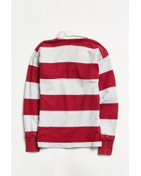 Urban Outfitters Gray Vintage Grey + Raspberry Stripe Rugby Shirt for men