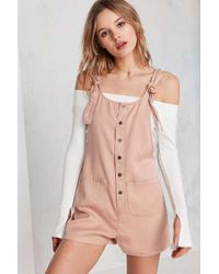 BDG Pink Andy Button-front Tie-strap Dungarees