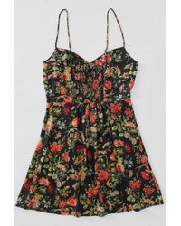 Urban Outfitters Uo Petra Black Floral Satin Mini Dress