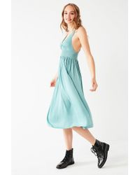 14ad47bda7 Lyst - Urban Outfitters Uo Valerie Smocked Satin Midi Dress in Blue