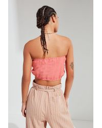 Urban Outfitters - Pink Urban Renewal Remade Tie-front Linen Tube Top - Lyst