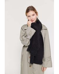 Urban Outfitters Black Boucle Knit Scarf