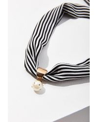 Urban Outfitters - Black Striped Neck Tie Pearl Pendant Scarf - Lyst