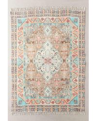 Urban Outfitters Multicolor Sarafina Turquoise Printed Chenille Rug