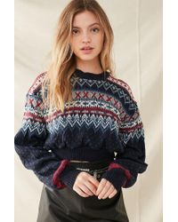 Urban Outfitters Blue Urban Renewal Recycled Cropped Fair Isle Sweater