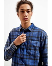 Urban Outfitters Blue Uo Overdyed Classic Flannel Button-down Shirt for men