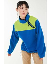 Stussy Blue Drift Fleece Diagonal Half-zip Sweatshirt