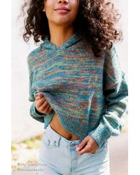 Urban Outfitters Blue Uo Boucle Hooded Cropped Sweater