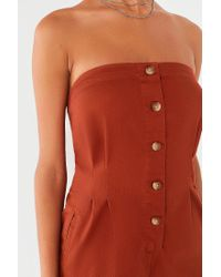 Urban Outfitters Red Uo Strapless Button-down Jumpsuit