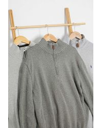 Urban Renewal Gray Vintage Branded Quarter-zip Knitted Jumper for men