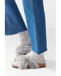 Urban Outfitters - Gray Crossed Faux Fur Slide - Lyst
