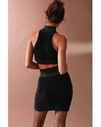 Urban Outfitters Black Uo Jaime Fuzzy Sweater Cropped Tank Top