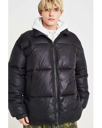 Urban Outfitters Black Uo Hi Shine Puffer Jacket for men