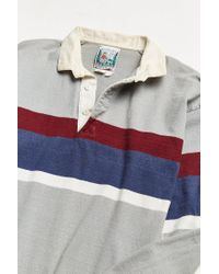 Urban Outfitters Gray Vintage Thatcher And Cross Grey Stripe Rugby Shirt for men
