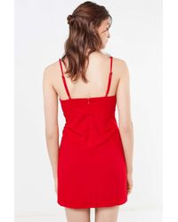 Urban Outfitters Red Uo Empire-waist Crepe Mini Dress
