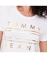 Tommy Hilfiger White Metallic Logo T Shirt