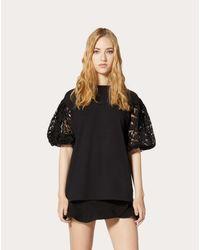 Camiseta De Punto Y Guipur Valentino de color Black