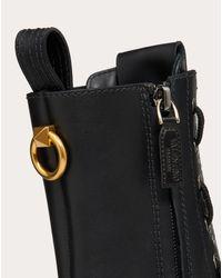 Valentino Black Valentino Garavani Calfskin Leather Combat Boot With Loop Detail 15 Mm