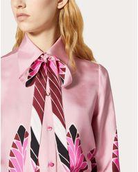 Camicia In Twill Stampata di Valentino in Pink