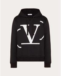 メンズ Valentino フーデッド スウェットシャツ デコンストラクテッド Vlogo Signature Black