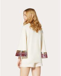 Maglia In Lana Cashmere Ricamata di Valentino in White