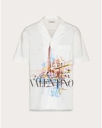 メンズ Valentino Valentino ローマンスケッチ シャツ White