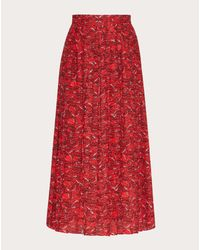 Valentino Red Printed Crepe De Chine Skirt