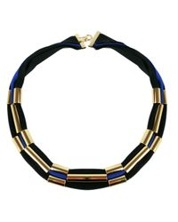 Marion Vidal | Black And Blue Polyester Ribbon Necklace | Lyst