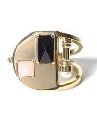 Volha   Metallic Onyx Gold Bracelet   Lyst