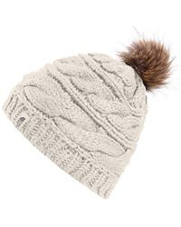 3446178dc64 Lyst - The North Face Triple Cable Fur Pom Beanie in Natural