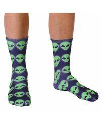 Living Royal Green Alien Crew Socks for men