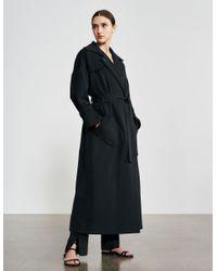 Varana Hand Embroidered Wool Trench Coat - Black