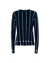 Varana Flat Lock Mirror Cashmere Sweater - Blue