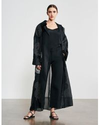 Varana Rabari Embroidered Silk Organza Trench Coat - Black