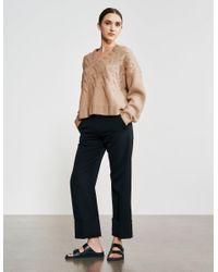 Varana Cable Knit V Neck Cashmere Sweater - Multicolor