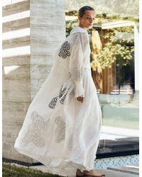 Varana Rabari Embroidered Silk Organza Trench Coat - White