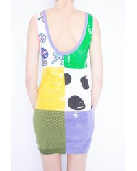 Jeremy Scott Multicolor Sequined Scoop Neck Multi Print Fitted Dress