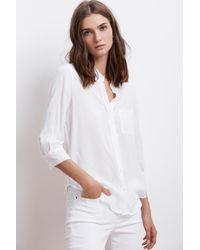 Velvet By Graham & Spencer - White Malinda Challis 3/4 Sleeve Button Up Top - Lyst