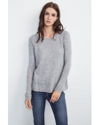 Mango | Gray Dalona Sheer Cashmere Raglan Sweater In Heather Grey | Lyst