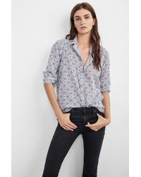 Velvet By Graham & Spencer Multicolor Emery Printed Cotton Button-up Shirt In Delft