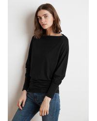 Mango Beatrisa Lux Slub Long Sleeve Top In Black