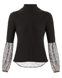 Veronica Beard - Black Moon Mixed Media Sweater - Lyst